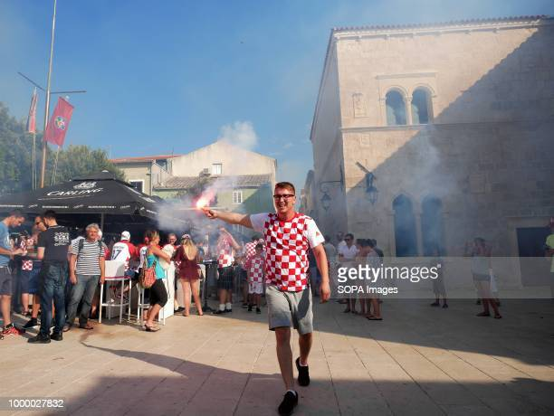 Croatian man is seen celebrating Croatians in the Island of Pag watched the world cup football final match Croatia vs France Croatia lost 24 but it...