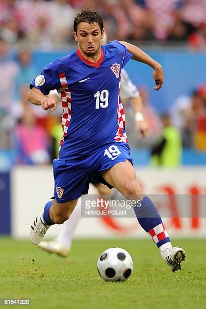 Croatian midfielder Niko Kranjcar runs with the ball during the Euro 2008 Championships Group B football match Croatia vs Germany on June 12 2008 at...