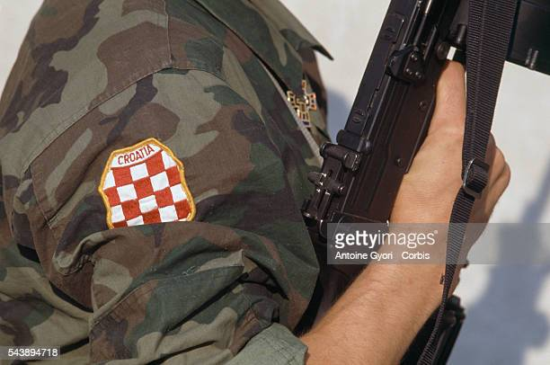 Croatian militia during the attack on Vukovar by Serbian forces of Croatia