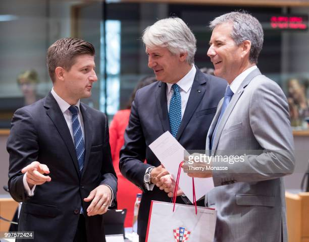 BRUSSELS BELGIUM JULY 13 Croatian Minister of Finance Zdravko Maric is talking with the Austrian Finance Minister President of the Council Hartwig...
