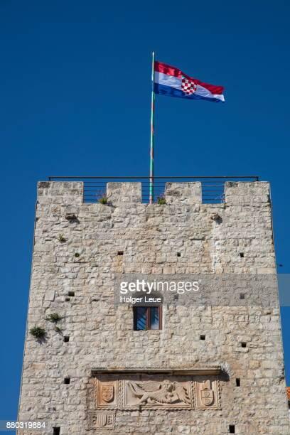 Croatian national flag on Tower Revelin in Old Town, Korcula, Dubrovnik-Neretva, Croatia