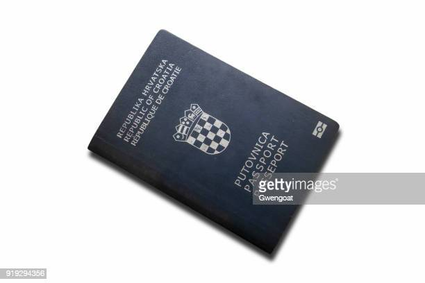 croatian passport isolated on a white background - gwengoat stock pictures, royalty-free photos & images