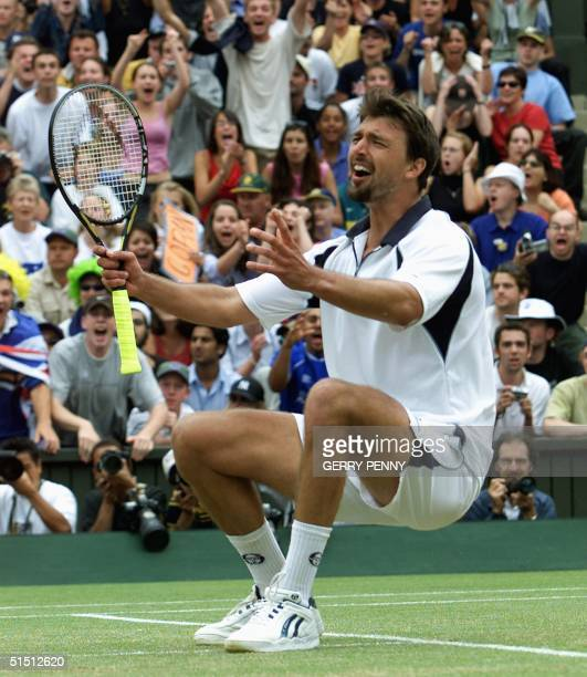 Croatian player Goran Ivanisevic celebrates after winning Men's Single Final against Patrick Rafter of Australia at the All England Tennis...