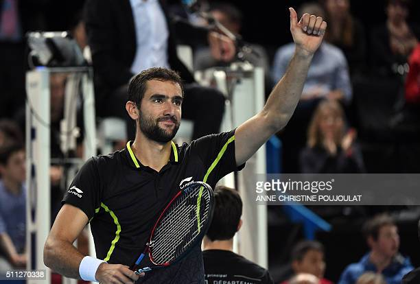 Croatian player Marin Cilic celebrates after winning against to Russian Andrey Kuznetsov during their tennis match final quarter at the ATP Marseille...