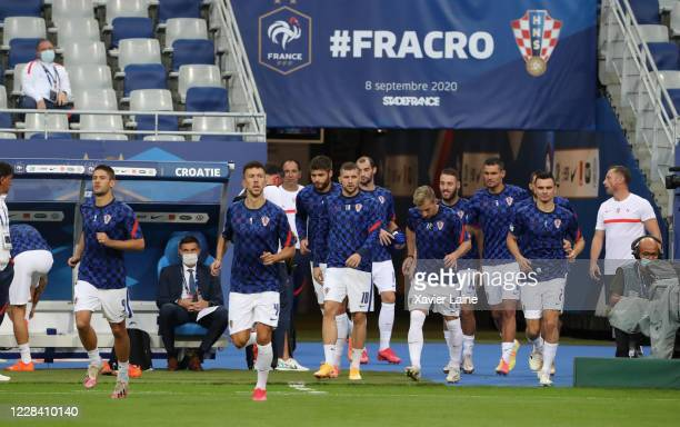 Croatian players enter the field during the UEFA Nations League group stage match between France and Croatia at Stade de France on September 8 2020...
