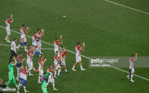 Croatian players greet fans after winning the second place of the FIFA World Cup championship after the 2018 FIFA World Cup Russia final match...