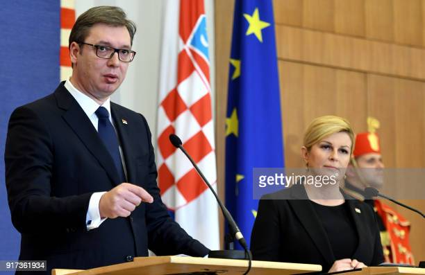 Croatian President Kolinda Grabar Kitarovic and her Serbian counterpart Aleksandar Vucic hold a joint press conference after their meeting at the...