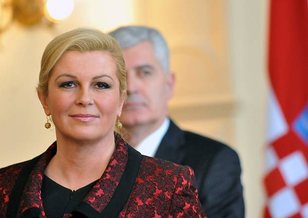 Croatian President, Kolinda Grabar Kitarovic gives a press conference after meeting with members of Bosnia and Herzegovina's tripartite presidency in...