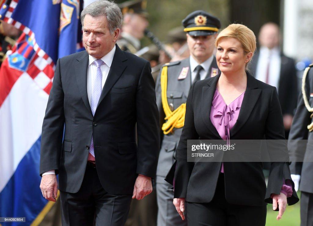Croatian President Kolinda Grabar Kitarovic welcomes her