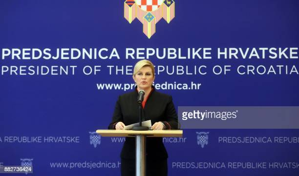 Croatian President Kolinda GrabarKitarovic addresses a press conference in Zagreb on November 30 a day after the suicide of former military commander...