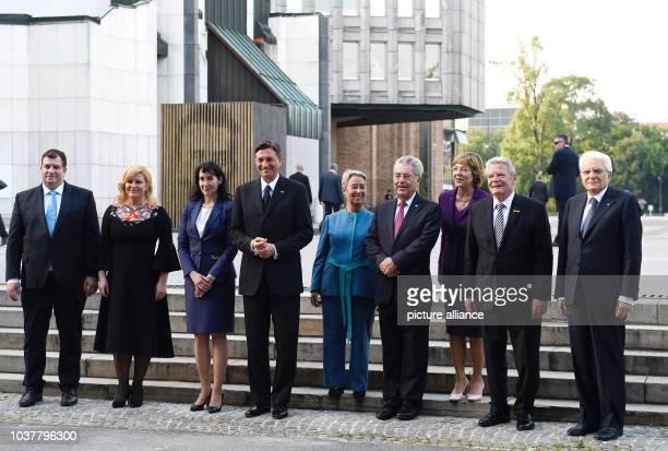 Croatian President Kolinda GrabarKitarovic and her husband Jakov Kitarovic Slovenian President Borut Pahor and his wife Tanja Pecar Austrian...