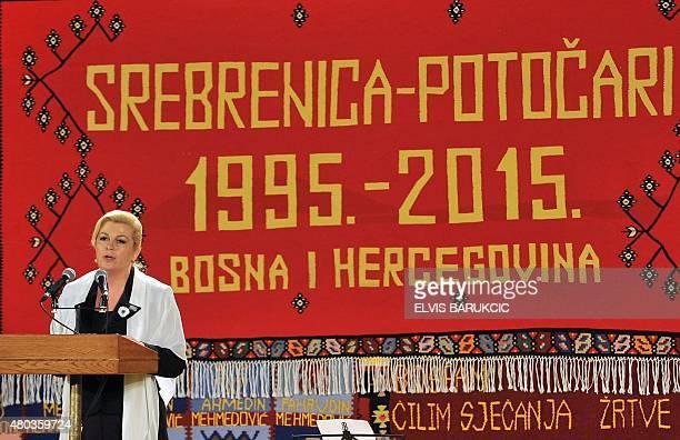 Croatian President Kolinda GrabarKitarovic delivers her speech during commemoration prior to burial ceremony in Potocari Memorial Cemetery on July 11...