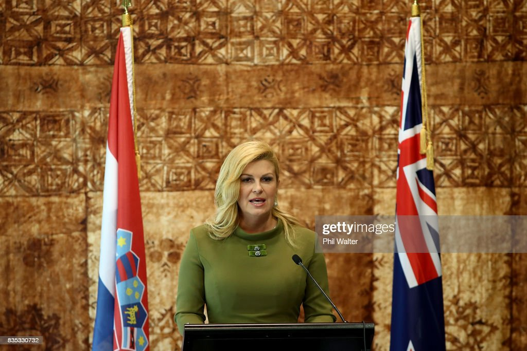 Croatian President Kolinda Grabar-Kitarovicon speaks during a state luncheon at Government House August 19, 2017 in Auckland, New Zealand. President Kolinda Grabar-Kitarovic is on a four day visit to New Zealand.