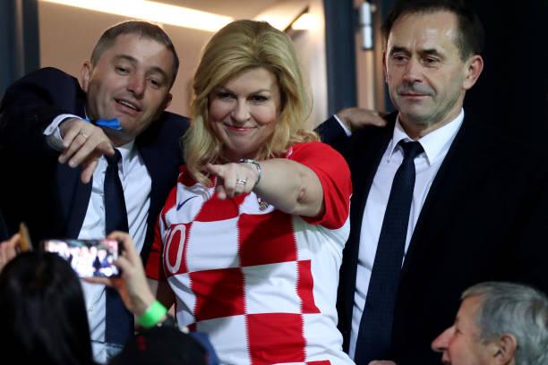 Croatian presidnet Kolinda Grabar Kitarovic ahead of the UEFA Euro 2020 Qualifier between Croatia and Slovakia on November 16, 2019 in Rijeka,...