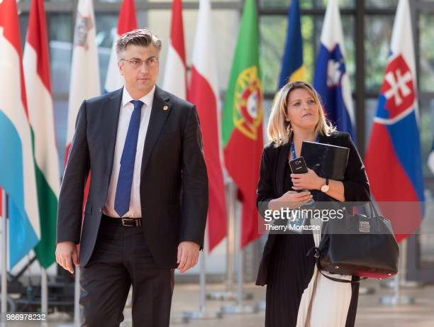 Croatian Prime Minister Andrej Plenkovic arrives to take part in the second day of the European Union leaders' summit without Britain to discuss...