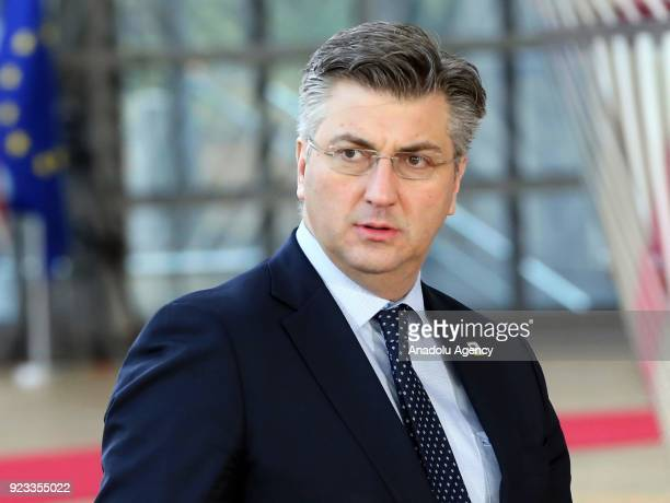 Croatian Prime Minister Andrej Plenkovic attends the EU members' informal meeting of the 27 heads of state or government at European Council...