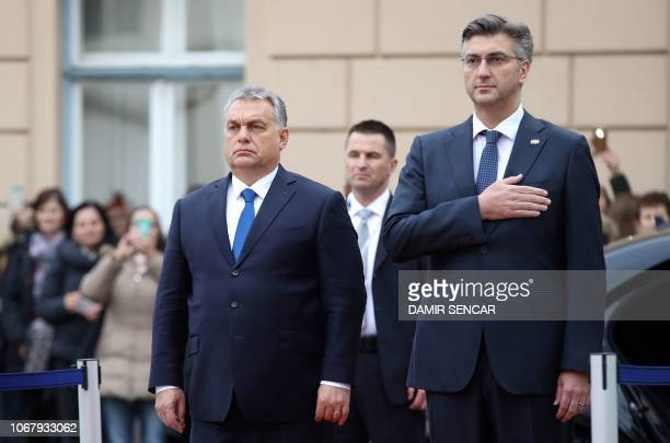 Croatian Prime minister Andrej Plenkovic welcomes his Hungarian counterpart Viktor Orban prior to their meeting in Zagreb on December 3 2018 Orban...