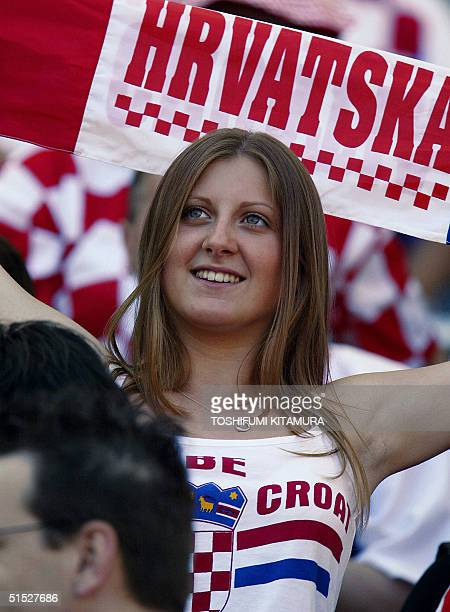 Croatian soccer fan wave a banner before the Group G first round match Croatia/Mexico of the 2002 FIFA World Cup in Korea and Japan 03 June 2001 at...