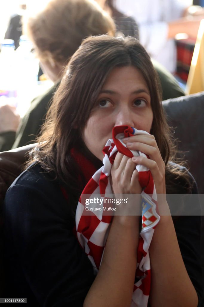 Fans Gather To Watch The World Cup Final Between France And Croatia in Buenos Aires