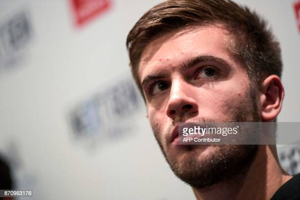 Croatian tennis player Borna Coric is pictured on November 6 2017 in Milan during the Media day prior to the first edition of the Next Generation ATP...