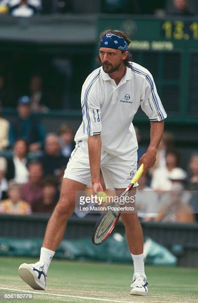 Croatian tennis player Goran Ivanisevic pictured competing to progress to reach the final of the Men's Singles tournament before losing to Pete...