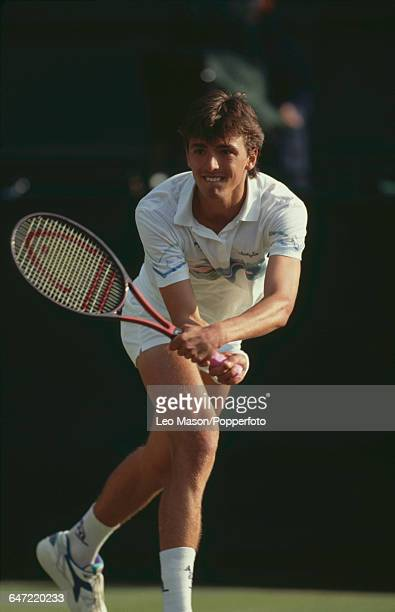 Croatian tennis player Goran Ivanisevic pictured in action competing to reach the semifinals in the Men's Singles tournament at the Wimbledon Lawn...