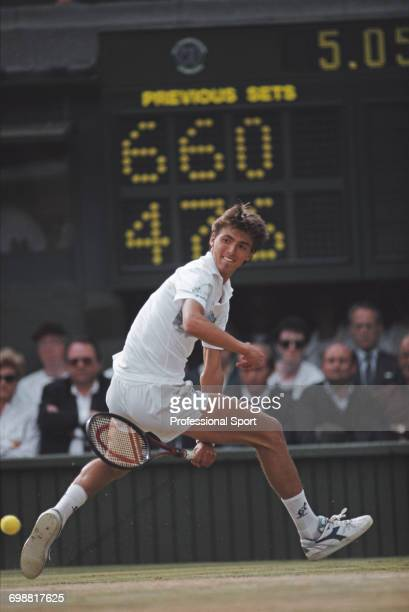 Croatian tennis player Goran Ivanisevic pictured in action competing to lose to Boris Becker 64 67 06 67 in the semifinals of the Men's Singles...