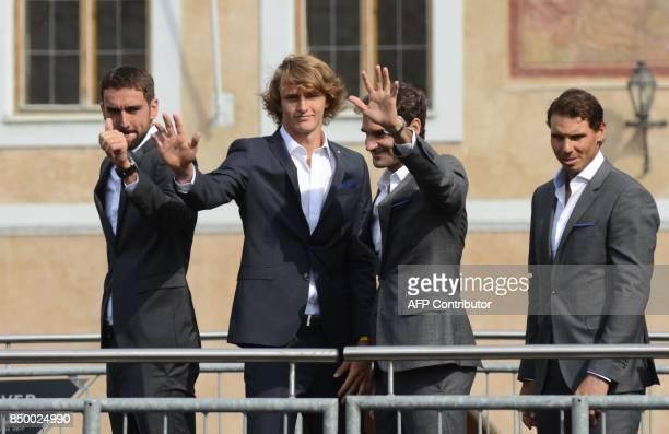 Croatian tennis player Marin Cilic German tennis player Alexander Zverev Swiss tennis player Roger Federer and Spanish tennis player Rafael Nadal...