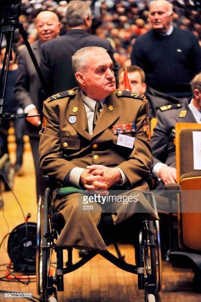 Croatian war weteran Marijan Biscan looks on before the start of a commemoration ceremony honouring the late Croatian general Slobodan Praljak in...