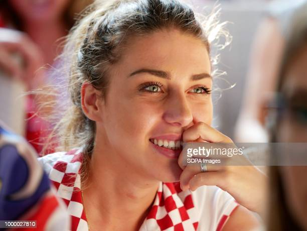 Croatian woman is seen smiling Croatians in the Island of Pag watched the world cup football final match Croatia vs France Croatia lost 24 but it was...