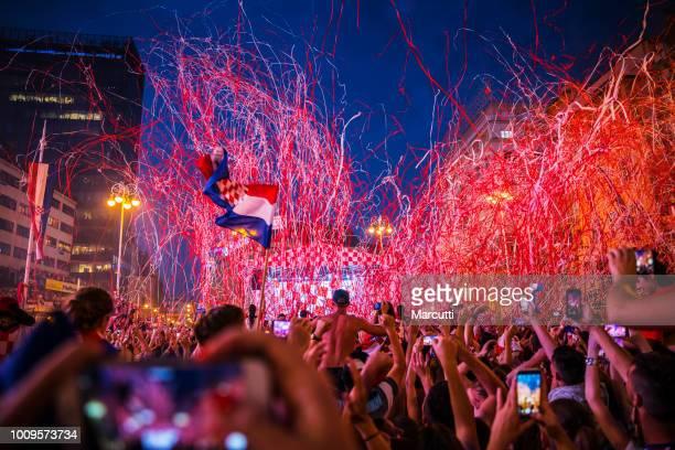 Croatians celebrate Croatian football team on the Ban Jelacic square