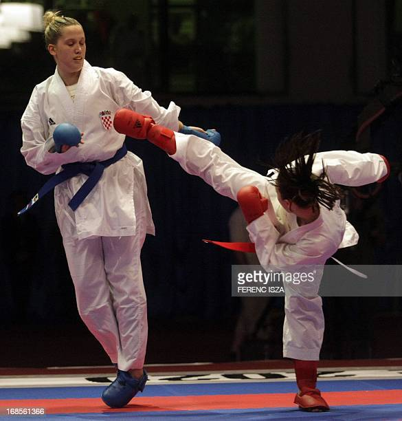 Croatia's Anamarija Celan fighst to win the gold medal against France's Alexandra Recchia in team final of the 48th Karate Senior European...