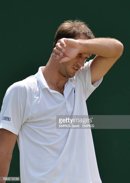 Croatia's Ante Pavic reacts in his match against Spain's Feliciano Lopez
