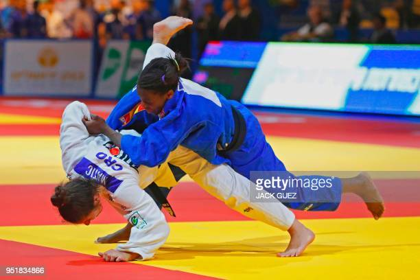 TOPSHOT Croatia's Barbara Matic and Spain's Maria Bernabeu compete in the women's under 70 kg weight category during the European Judo Championship...