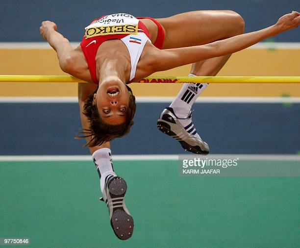 Croatia's Blanka Vlasic competes in the women's high jump qualifying round at the 2010 IAAF World Indoor Athletics Championships at the Aspire Dome...
