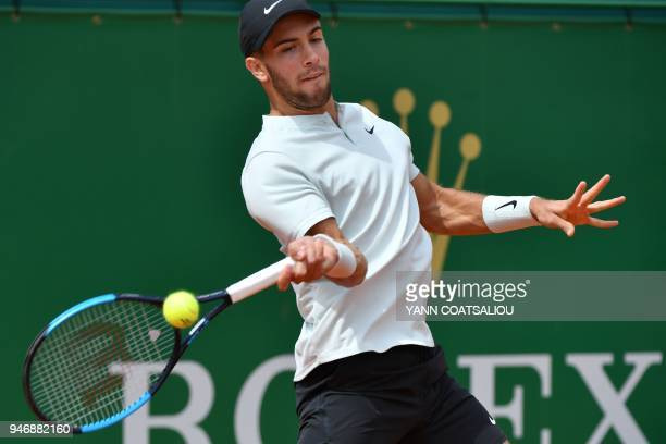Croatia's Borna Coric returns a ball to France's Julien Benneteau during their round of 64 tennis match at the MonteCarlo ATP Masters Series...