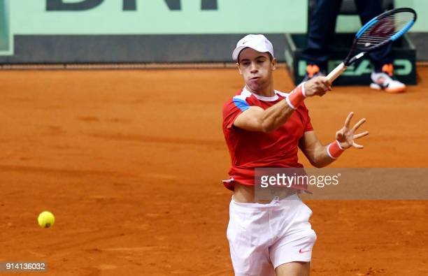 Croatia's Borna Coric returns the ball to Canada's Denis Shapovalov during the Davis Cup tennis match between Croatia and Canada at Gradski vrt hall...