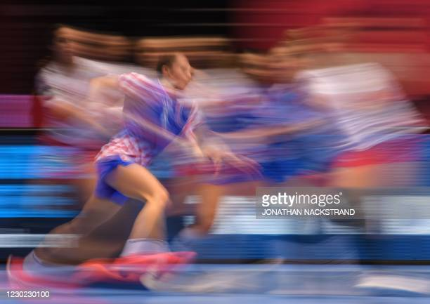 Croatia's Centre back Stela Posavec plays the ball during the bronze medal match between Croatia and Denmark of the 2020 EHF European Women's...