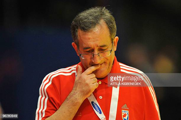 Croatia's coach Lino Cervar concentrates on January 30 during the EHF EURO 2010 Handball Championship semifinal Croatia Vs Poland in Wiener...