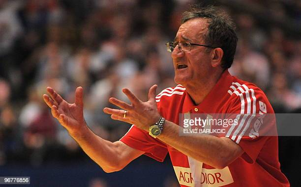 Croatia's coach Lino Cervar gestures as he reacts on January 31 during the EHF EURO 2010 Handball Championship final Croatia Vs France in Wiener...