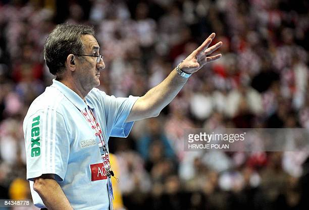 Croatia's coach Lino Cervar reacts during their group B World Handball Championship match between Kuwait and Croatia in Split on January 18 2009 AFP...