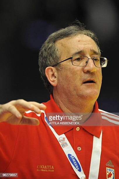 Croatia's coach Lino Cervar watches his players on January 30 during the EHF EURO 2010 Handball Championship semifinal Croatia Vs Poland in Wiener...