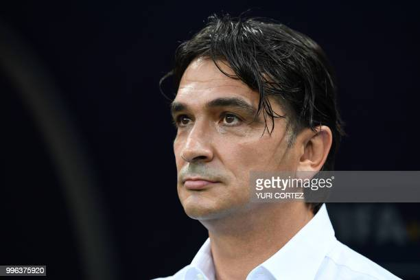 Croatia's coach Zlatko Dalic attends the Russia 2018 World Cup semifinal football match between Croatia and England at the Luzhniki Stadium in Moscow...