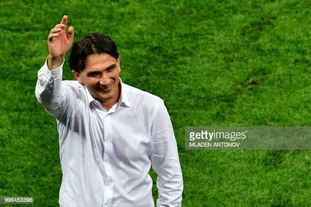 Croatia's coach Zlatko Dalic celebrates after winning the Russia 2018 World Cup semifinal football match between Croatia and England at the Luzhniki...