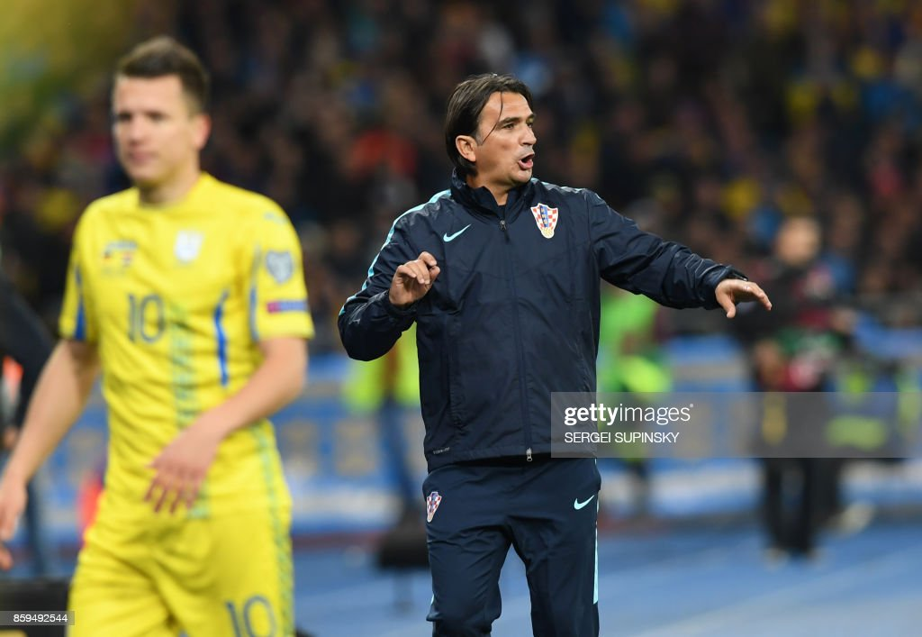Croatia's coach Zlatko Dalic reacts during the FIFA World Cup 2018 qualification football match between Ukraine and Croatia in Kiev on October 9, 2017. /