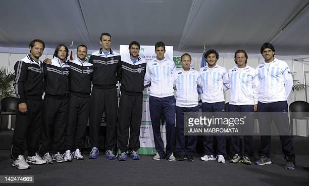 Croatia's Davis Cup team captain Zeljko Krajan and tennis players Antonio Veic Lovro Zovko Ivo Karlovic and Marin Cilic and Argentina's Juan Martin...
