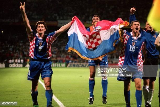 Croatia's Davor Suker , Krunoslav Jurcic and Zvonimir Boban celebrate at the end of the match