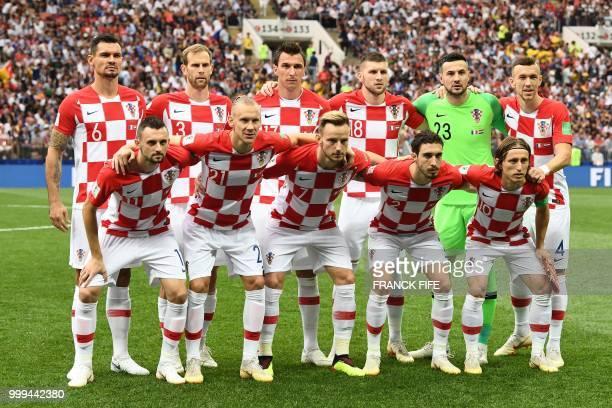 Croatia's defender Dejan Lovren Croatia's defender Ivan Strinic Croatia's forward Mario Mandzukic Croatia's forward Ante Rebic Croatia's goalkeeper...
