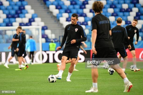 Croatia's defender Dejan Lovren takes part in a training session at the Nizhny Novgorod Stadium on June 20 2018 on the eve of the Russia 2018 World...