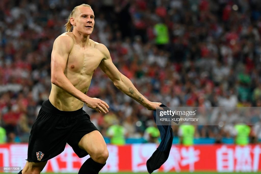 TOPSHOT - Croatia's defender Domagoj Vida celebrates after scoring a goal during the extra time of the Russia 2018 World Cup quarter-final football match between Russia and Croatia at the Fisht Stadium in Sochi on July 7, 2018. (Photo by Kirill KUDRYAVTSEV / AFP) / RESTRICTED